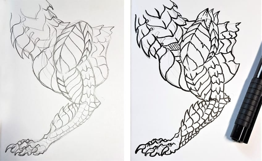 drawing dragon scales 3