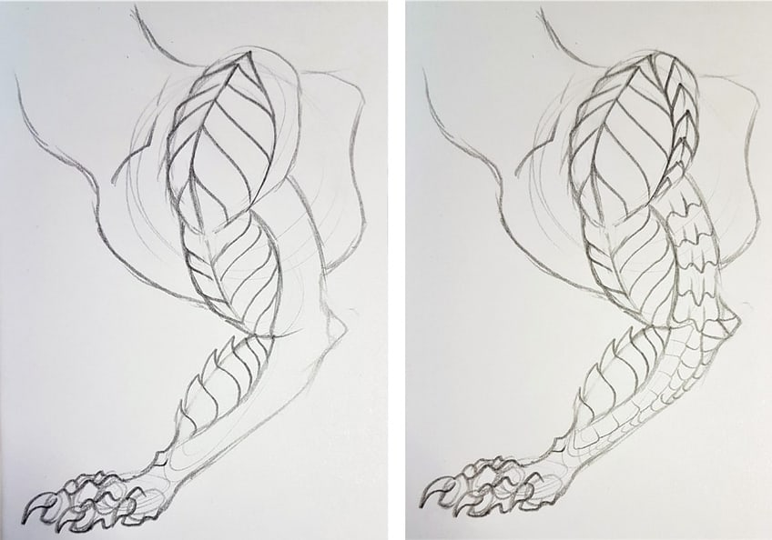 drawing dragon scales