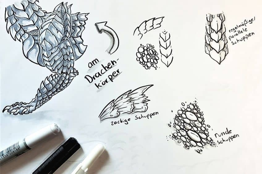 how to draw a dragons scales