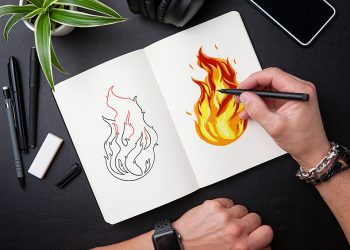 how to draw a flame 2