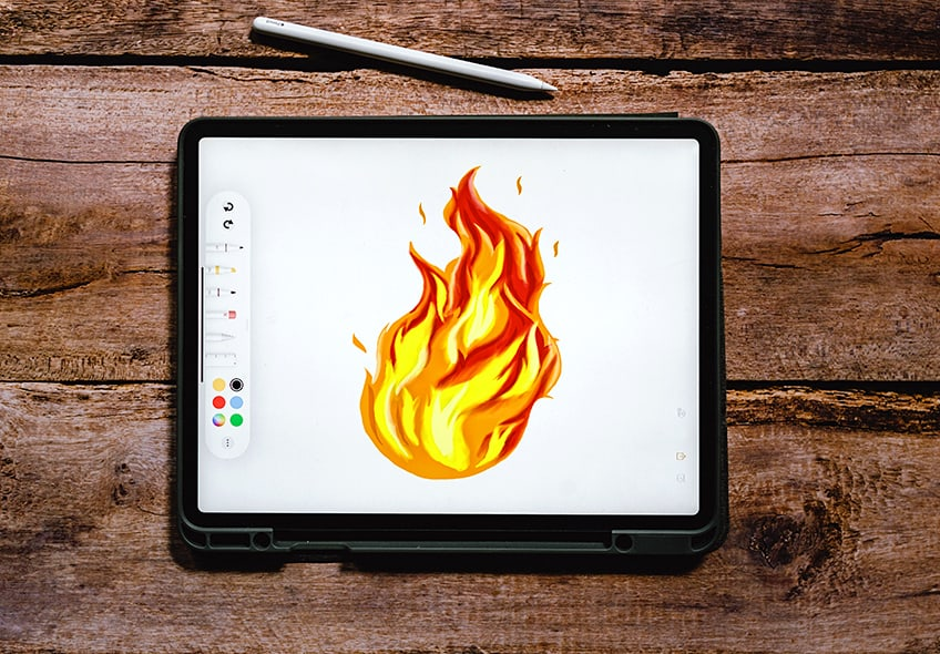 how to draw a flame